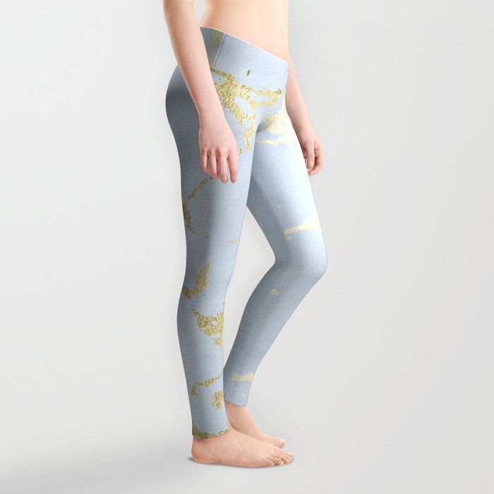 Kintsugi Ceramic Gold on Sky Blue Leggings