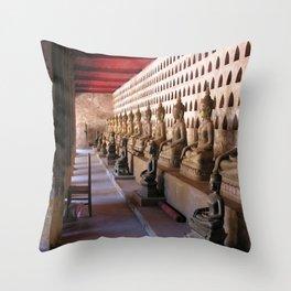 Siting Buddha Statues Buddhist Temple, Vientiane, Laos Throw Pillow