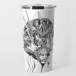 Handdrawn psychedelic Jimi Hendrix black and white portrait illustration Travel Mug