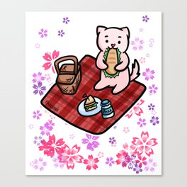 Cat picnic flowers Canvas Print