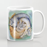 cuddle Mugs featuring Cuddle Cats by Lucy's Visual Fling
