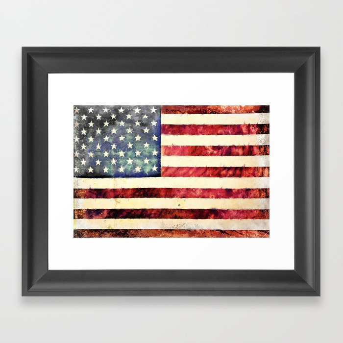 Vintage American Flag Framed Art Print By Politics Society6