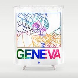 Geneva Watercolor Street Map Shower Curtain