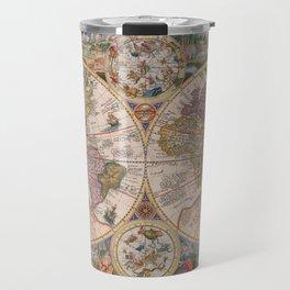 Vintage Map Print - 1594 double hemisphere world map by Petrus Plancius Travel Mug