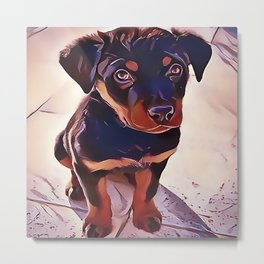Rottweiler Puppy Born To Be Wild Metal Print