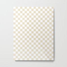 Small Checkered - White and Pearl Brown Metal Print