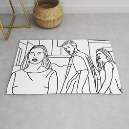 Black and White Sketch of three People Rug