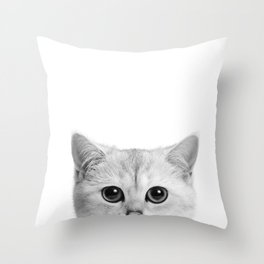 Peeping Tom cat Throw Pillow