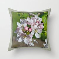 will ferrell Throw Pillows featuring APPLE BLOSSOM by Alpine Seaside Landscapes