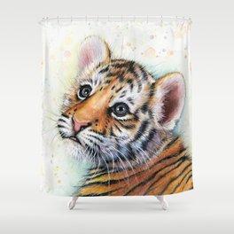 Nursery-Artwork-Tiger-Cub-Baby-Animal-Watercolor-Jungle-Safari-Animals Shower Curtain