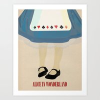 alice wonderland Art Prints featuring Alice In Wonderland by magicblood