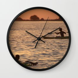 Kayak and Inflatable Ring at Sunset Palolem Wall Clock