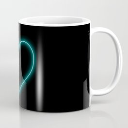 Aqua Blue Neon Valentines Love Heart Coffee Mug