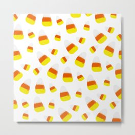 Cute halloween candy corn orange yellow watercolor pattern Metal Print