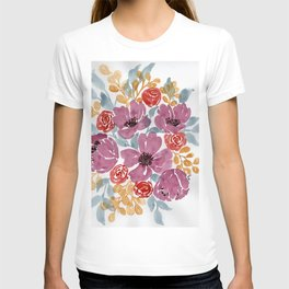 Fall Loose Floral watercolor bouquet T-shirt