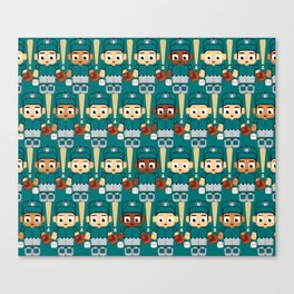 Baseball Teal and Grey - Super cute sports stars Canvas Print
