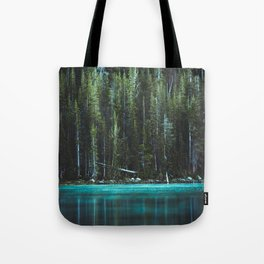 Nature Photo - Turquoise Blue Lake and Tall Pines Tote Bag
