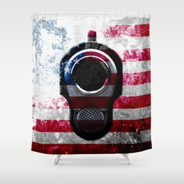 M1911 Colt 45 and American Flag on Distressed Metal Shower Curtain