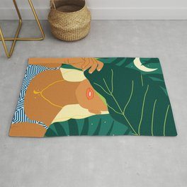 To The Moon & Never Back #illustration #painting Rug