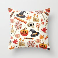 halloween Throw Pillows featuring halloween by Ceren Aksu Dikenci