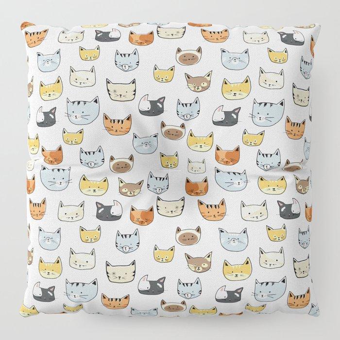 Cat Face Doodle Pattern Floor Pillow