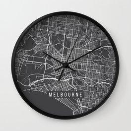 Melbourne Map, Australia - Gray Wall Clock