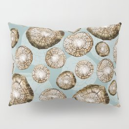 Cut Slices of Wood Graphic on Dusty Teal Pillow Sham