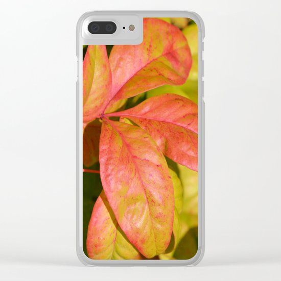 Summery Pink and Green Leaves Clear iPhone Case