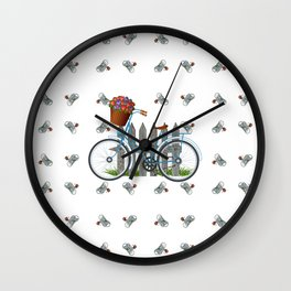 Vintage bicycle with basket full of violets flowers Wall Clock