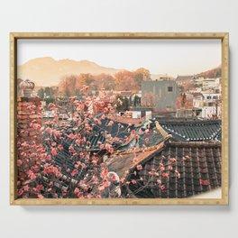 Seoul Rooftops - Bukchon Hanok Village, Korea Serving Tray