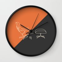 eames Wall Clocks featuring Eames Lounge by Nadia Castro