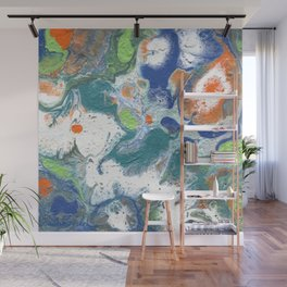 Orange and Green Abstract Wall Mural