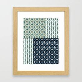 Vintage Tiles #society6 #pattern #indigo Framed Art Print
