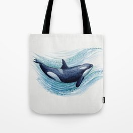 """""""Orca Spash"""" by Amber Marine ~ Watercolor Killer Whale Painting, (Copyright 2016) Tote Bag"""