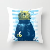 diver Throw Pillows featuring Wild Diver by Steven Toang