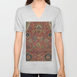 Persian Medallion Rug IV // 16th Century Distressed Red Green Blue Flowery Colorful Ornate Pattern Unisex V-Neck