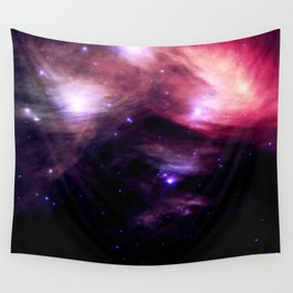 Galaxy : Pleiades Star Cluster nebUlA Purple Pink Wall Tapestry