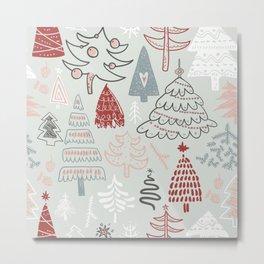 Merry Christmas Hand Drawn Trees Metal Print