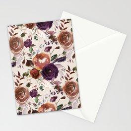Bohemian orange violet brown watercolor floral pattern Stationery Cards