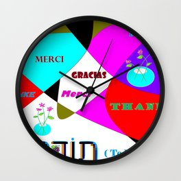 Thanks, Todah, Gracias, Merci, Danke Wall Clock