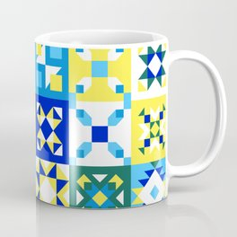 Moroccan tiles pattern with blue and yellow no4 Coffee Mug