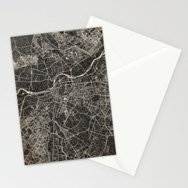 new delhi map ink lines 2 Stationery Cards