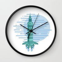 rocket Wall Clocks featuring Rocket by Emma Winton