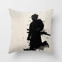 samurai Throw Pillows featuring Samurai by Nicklas Gustafsson