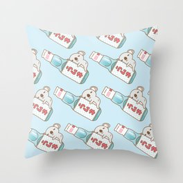 Baby koala with ramune japanese soda in blue  Throw Pillow