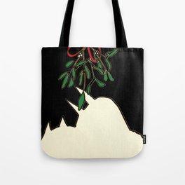 mistletoe kiss Tote Bag