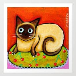 Siamese cat nervous siamese kitty on a cherry pillow art by Tascha Art Print