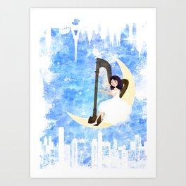 Harp girl 5: Connection Art Print