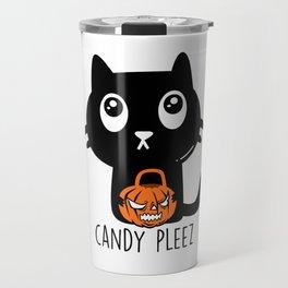 Candy Pleez Cat Kitten Halloween Travel Mug