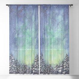 Northern Lights Sky Galaxy Sheer Curtain